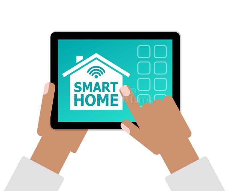 Smart Homebegrepp som händer som rymmer minnestavlaPC med appen stock illustrationer
