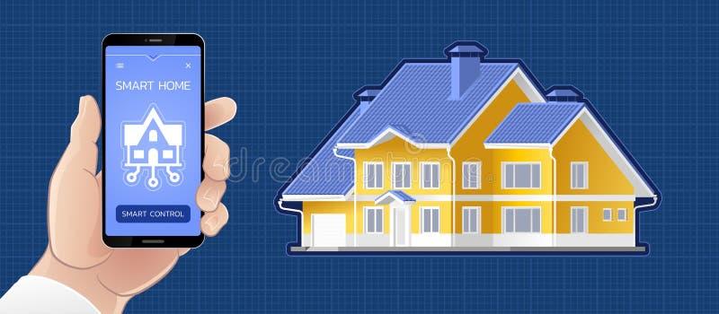Smart Homecontrole door een Mobiele toepassing stock illustratie