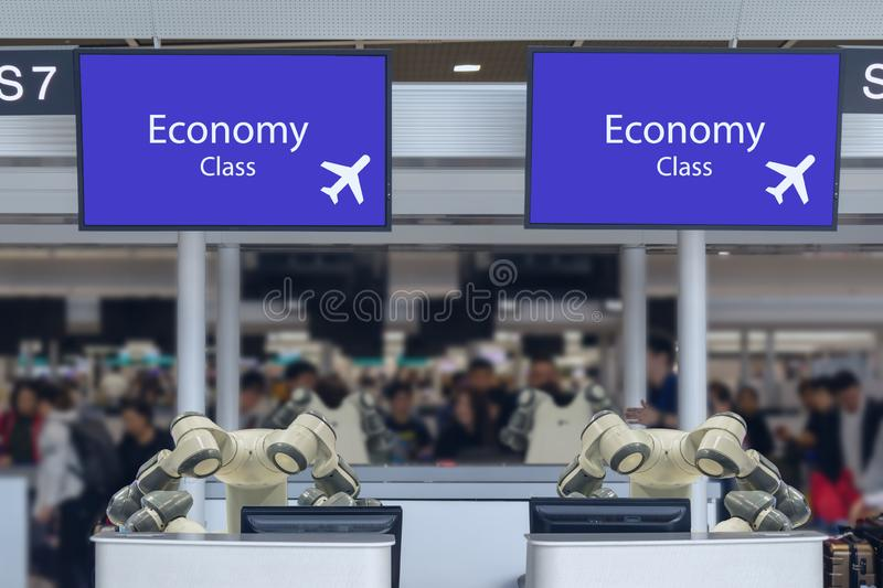 Smart hotel in hospitality industry 4.0 concept, the receptionist robot robot assistant in counter check in airports always we royalty free stock photography
