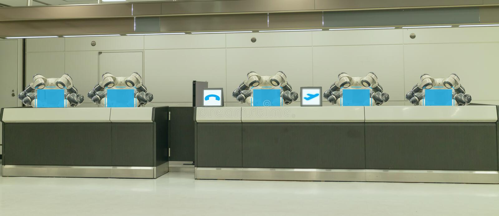 Smart hotel in hospitality industry 4.0 concept, the receptionist robot robot assistant in lobby of hotel or airports always w royalty free stock photography