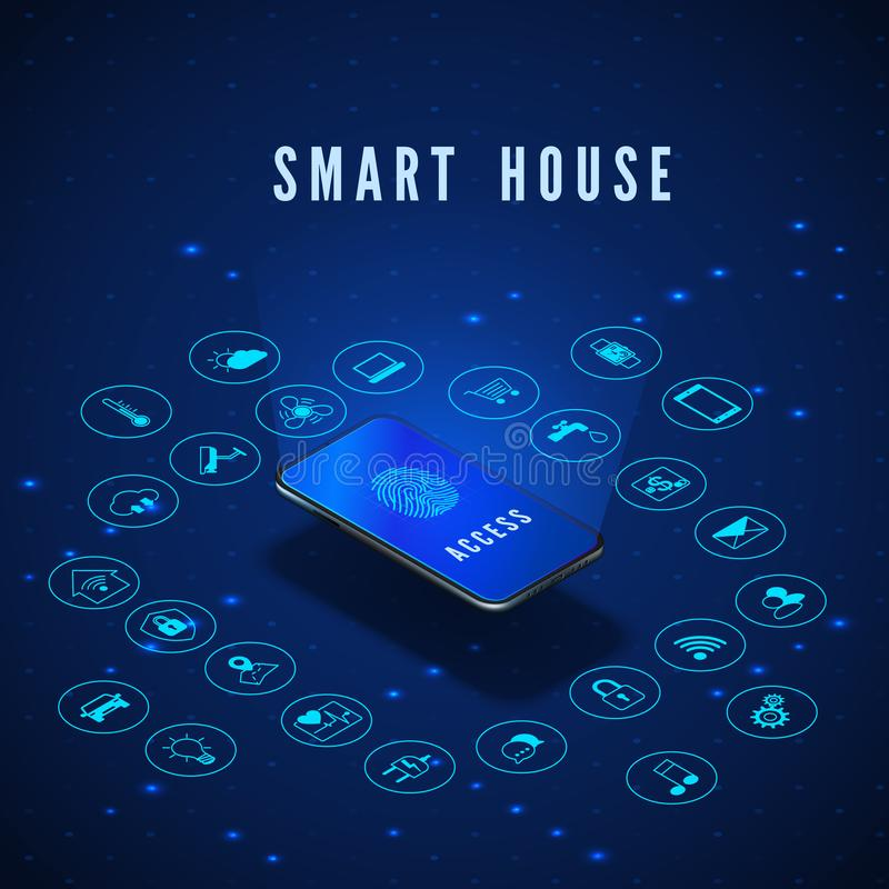 Smart House Banner. Smartphone with Fingerprint on Screen and Icons Set. Smart Home Monitoring and Control Systems. Vector. Illustration royalty free illustration