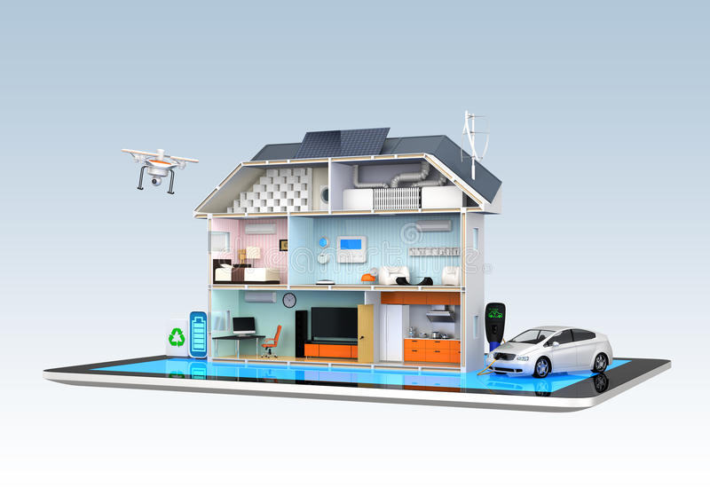 Smart house with energy efficient appliances. Monitoring by tablet PC royalty free illustration