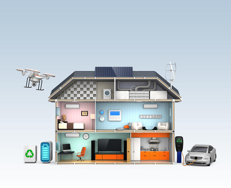 Smart house with energy efficient appliances. No text. royalty free illustration