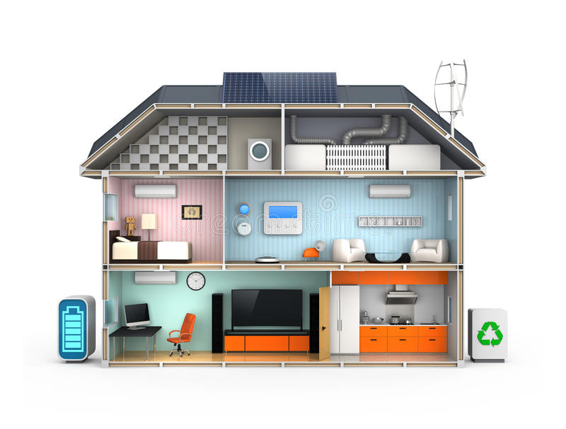Smart house with energy efficient appliances. Solar panel, home energy management system royalty free illustration
