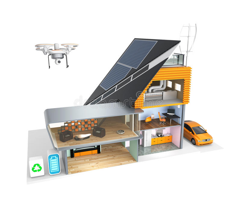 Smart house with energy efficient appliances, solar panels and wind turbines.  stock illustration