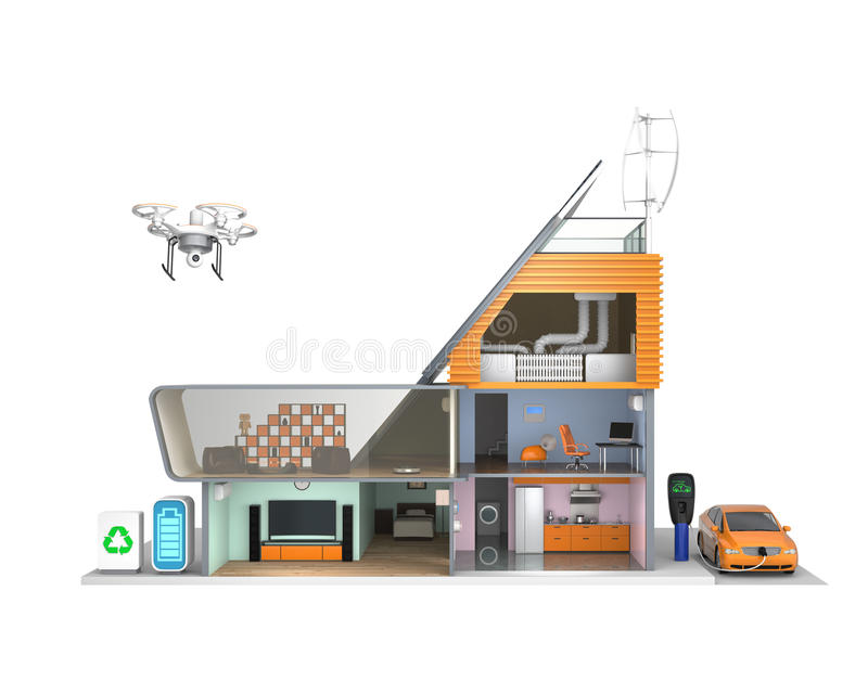 Smart house with energy efficient appliances, solar panels and wind turbines.  royalty free illustration