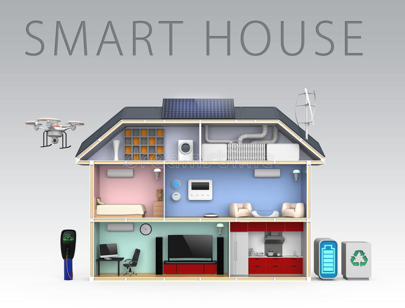 Smart house with energy efficient appliances. With text.  stock illustration