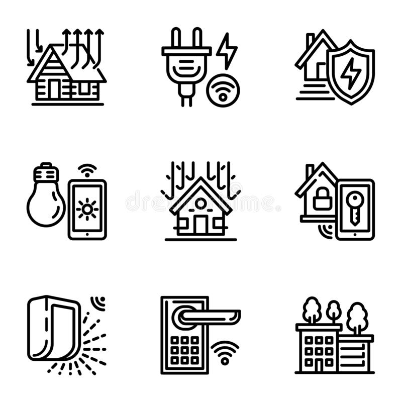 wireless door lock icons set  outline style stock vector