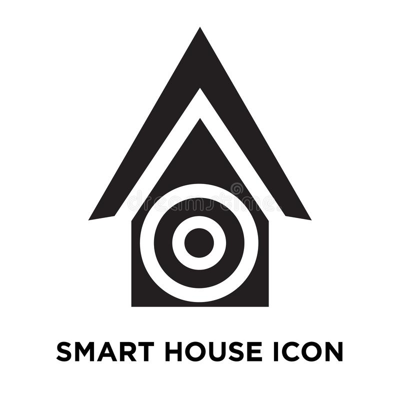 Smart house icon vector isolated on white background, logo concept of Smart house sign on transparent background, black filled royalty free illustration