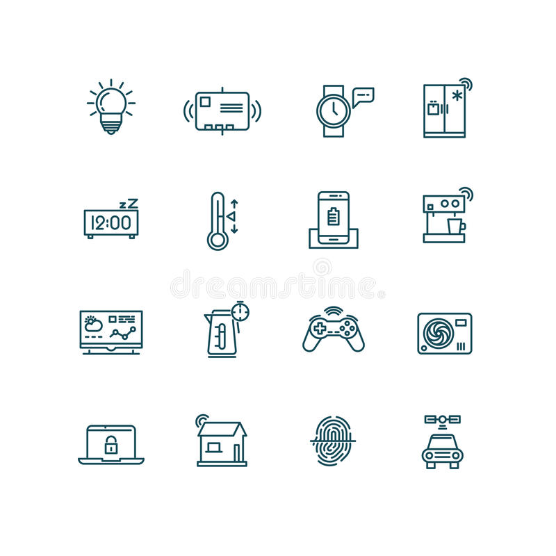 Smart house icons. Home automation control systems symbols for Internet of things concept royalty free illustration