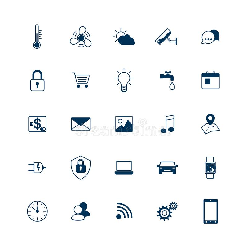 Smart house icons set. Internet of things concept. Smart home element system. Vector illustration royalty free illustration