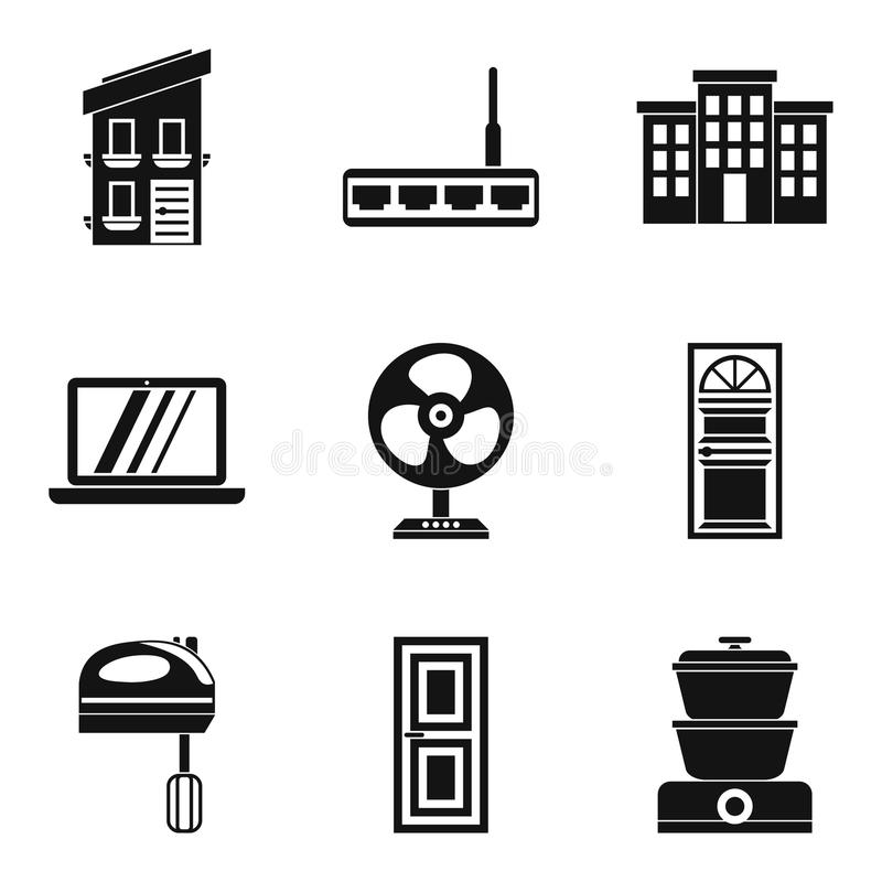 Smart house icons set, simple style royalty free illustration