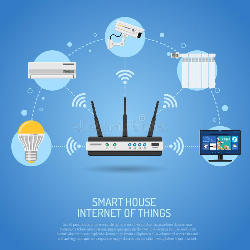 Smart House and internet of things. Concept. Router controls smart home through Internet like security air conditioner and smart tv flat icons. isolated vector stock illustration