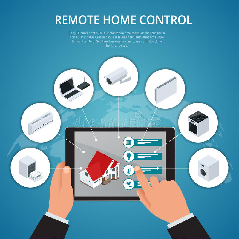 Smart House and internet of things concept. smartphone controls smart home like smart plug, fridge coffee maker washer stock illustration