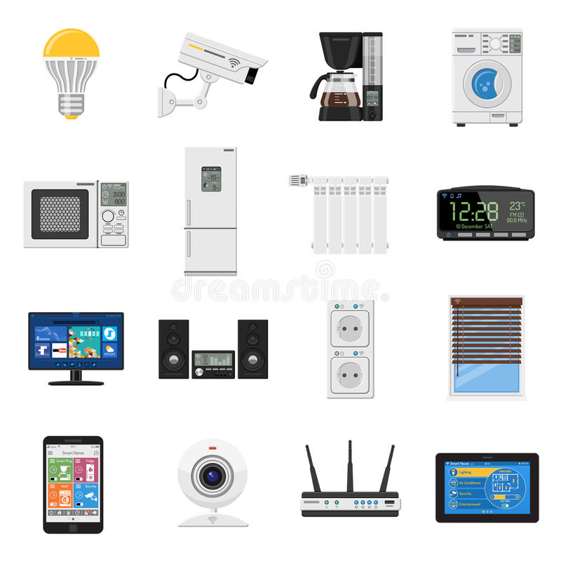 Smart house and internet of things flat icons set stock vector smart house and internet of things flat icons set with smartphone tablet security camera router light bulb and smart tv isolated vector illustration keyboard keysfo Image collections