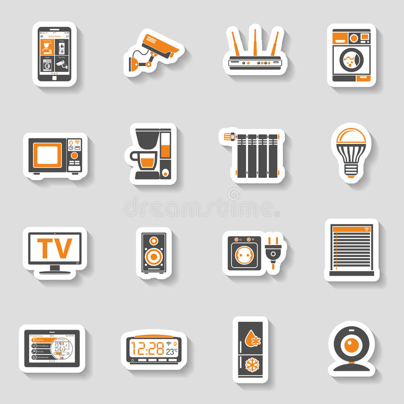 Smart House and internet of things sticker icons set. Smart House and internet of things two color sticker Icons Set with smartphone, tablet, security camera vector illustration