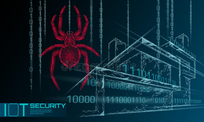Smart house IOT cybersecurity spider concept. Personal data safety Internet of Things cyber attack. Hacker attack danger vector illustration