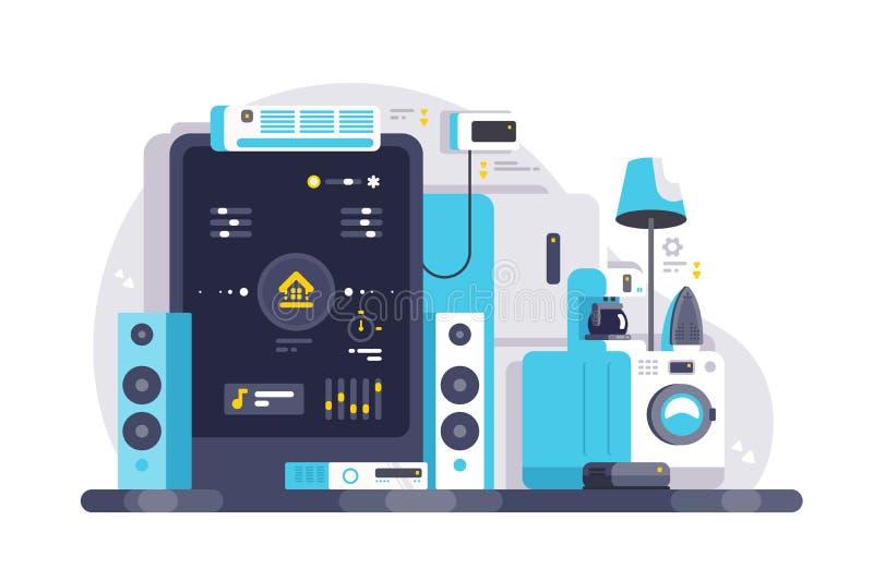 Smart house kontrollerat med smartphone-app stock illustrationer