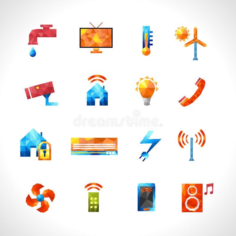 Smart House Polygonal Icons vector illustration
