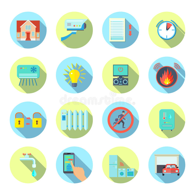 Smart House Round Icons Set vector illustration
