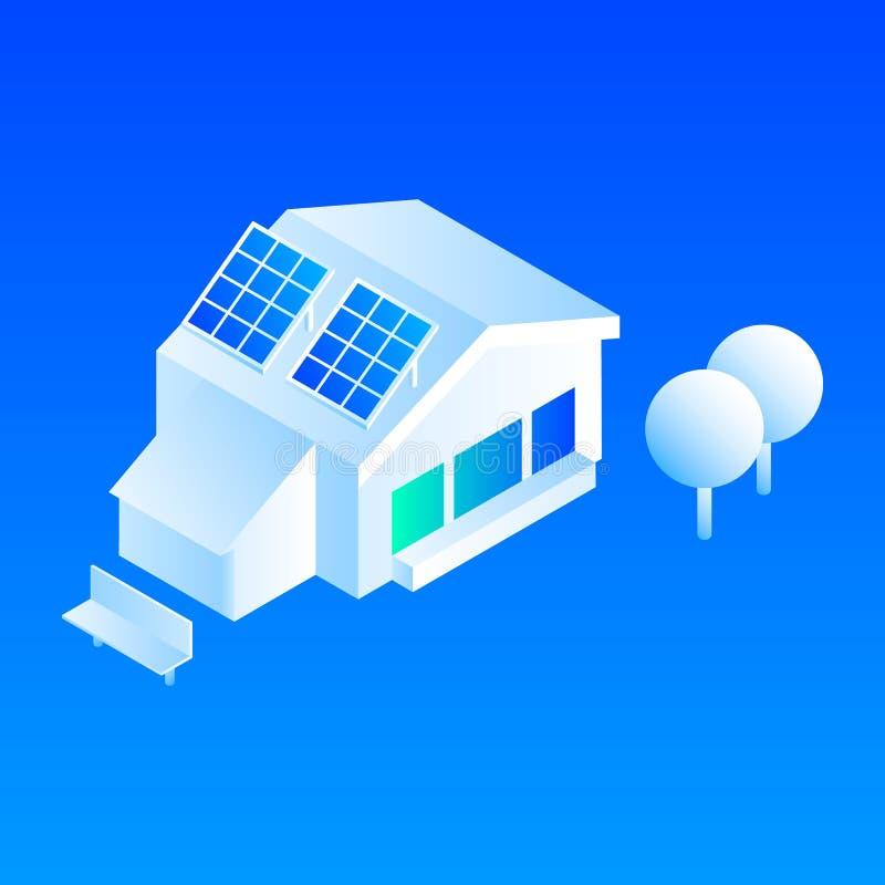Smart house solar panel icon, isometric style. Smart house solar panel icon. Isometric of smart house solar panel vector icon for web design isolated royalty free illustration