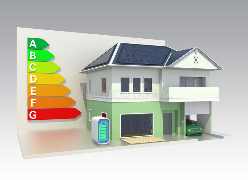 Smart house with solar panel system,energy efficie stock illustration