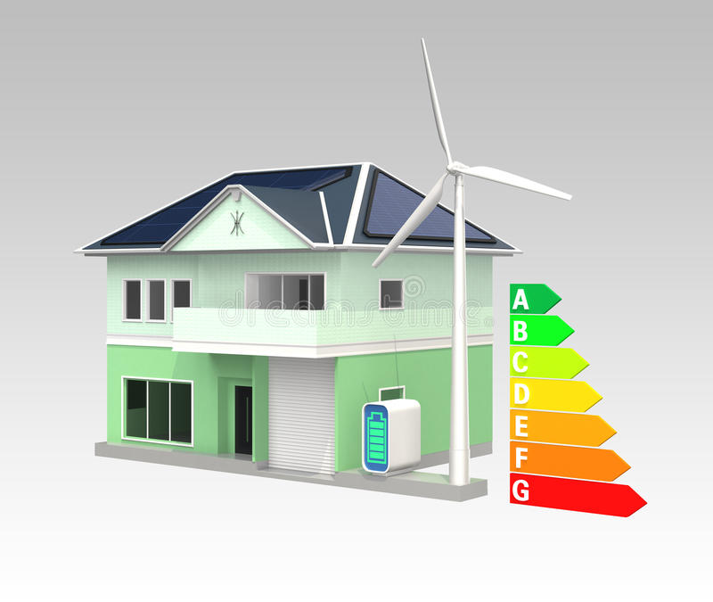Smart house with solar panel system,energy efficient chart. Smart house with solar panel system, wind turbine, home battery system and energy efficient chart royalty free illustration