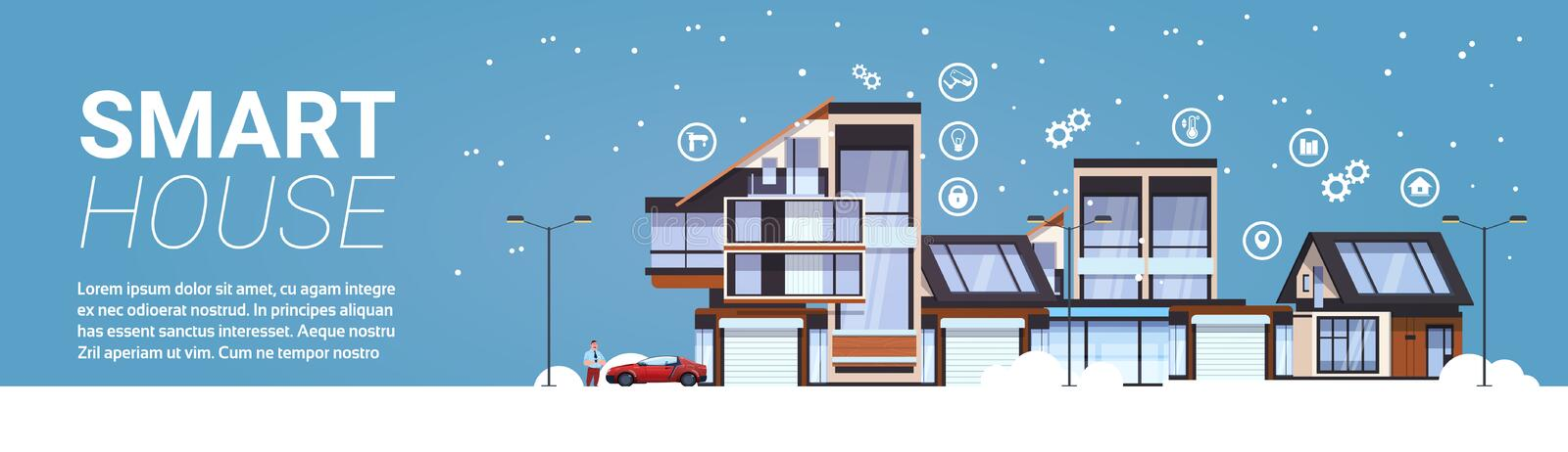 Smart House Technology Of Home Automation Concept Template Infographic Background Horizontal Banner. Flat Vector Illustration vector illustration