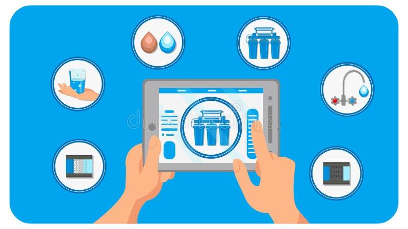 Smart House Water Filtration Vector Illustration stock illustration