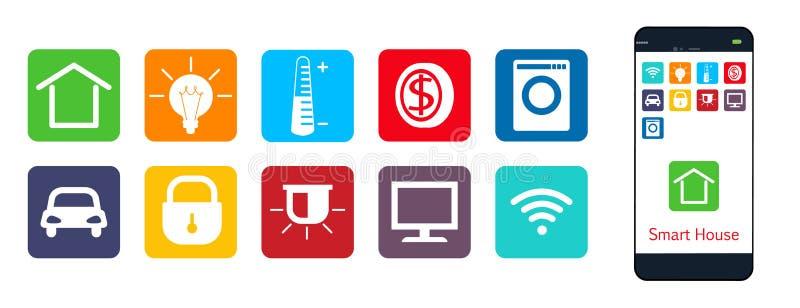 Smart hus en uppsättning av rengöringsduksymboler stock illustrationer