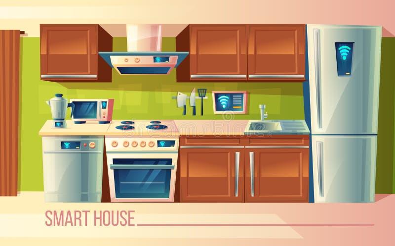 Smart hus för vektor, trådlös kontroll av kökanordningar Ledning vid smartphonen, internet vektor illustrationer