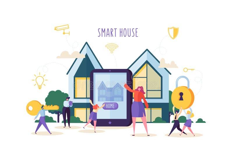 Smart husteknologibegrepp Folktecken som kontrollerar hem- Sequrity och maktenergi med mobilen App på minnestavlan royaltyfri illustrationer