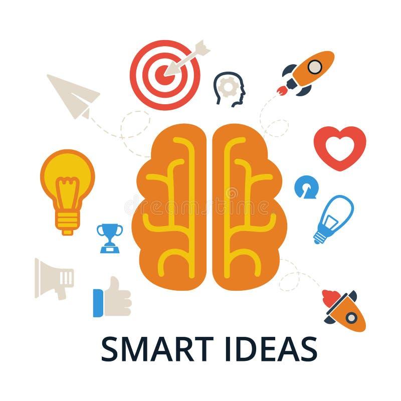 Smart idéer Hjärna, skapelse och idésymboler och beståndsdelar vektor illustrationer