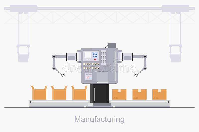 Smart industriell fabrik i en plan stil med arbetare, robotar och monteringsbandemballage vektor illustrationer