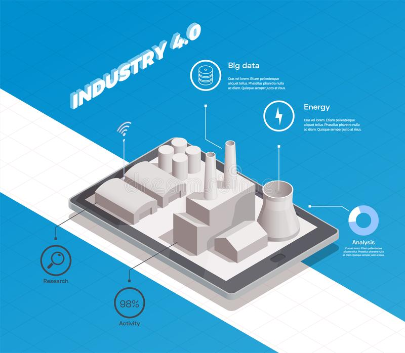 Smart Industry Isometric Composition stock illustration
