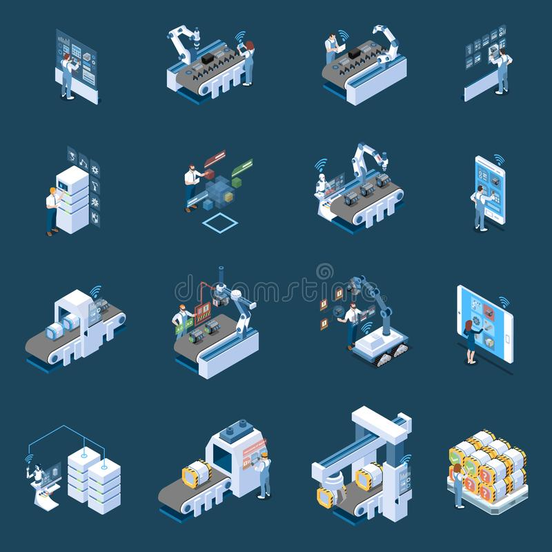 Smart Industry Isometric Icons. Smart industry with robotized manufacturing remote control and production data center isometric icons isolated vector royalty free illustration