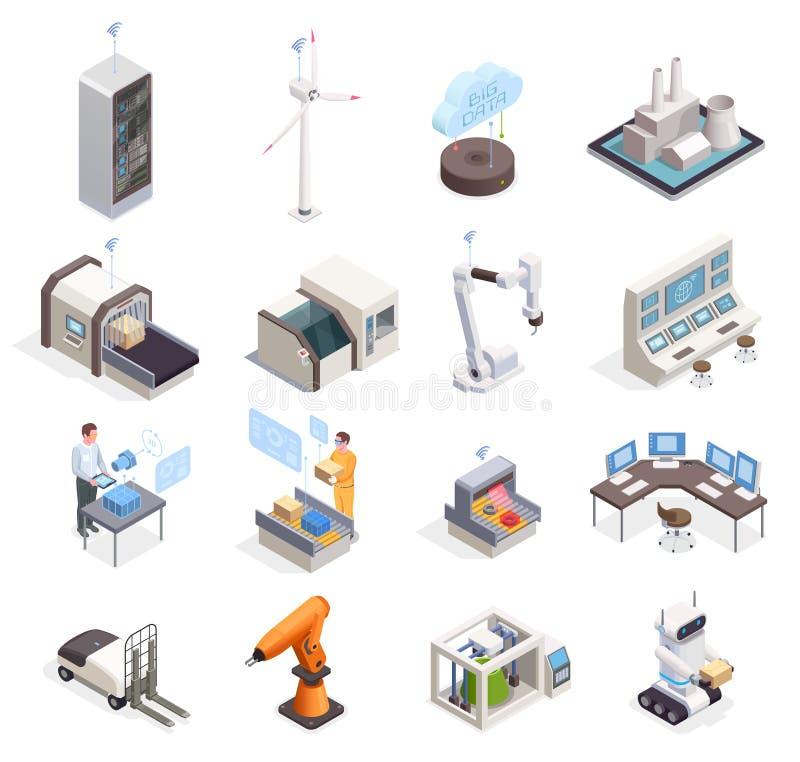 Smart Industry Isometric Set royalty free illustration