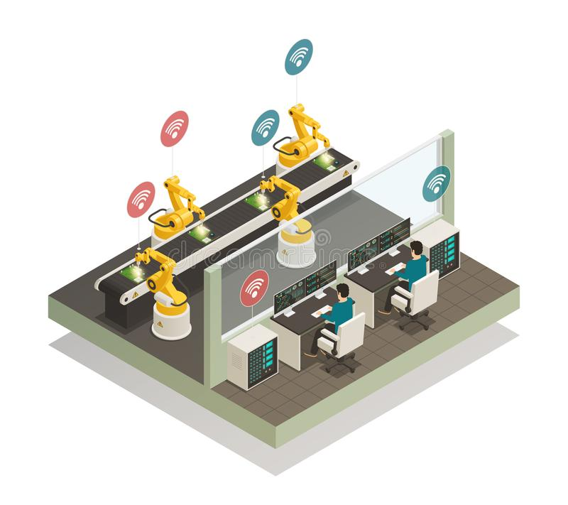 Smart Industry Manufacturing Isometric Composition. vector illustration