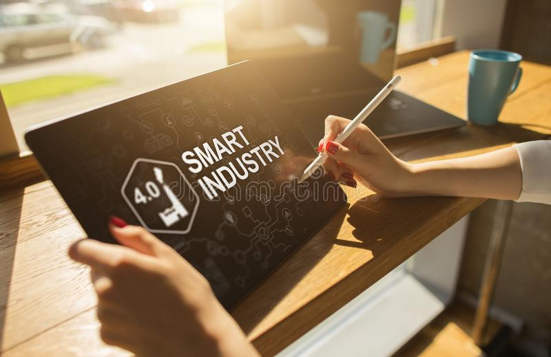 Smart industry 4.0, modern manufacturing, IOT and automation. Smart industry 4.0, modern manufacturing IOT and automation stock photos