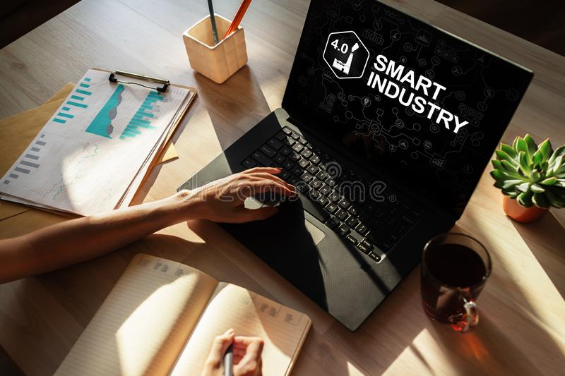 Smart industry 4.0, modern manufacturing, IOT and automation. Smart industry 4.0, modern manufacturing IOT and automation royalty free stock photos