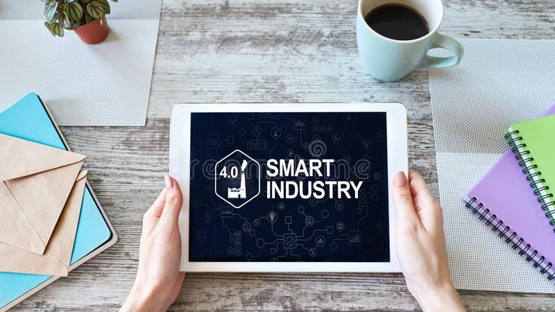 Smart industry 4.0, modern manufacturing, IOT and automation. Smart industry 4.0 modern manufacturing, IOT and automation stock image