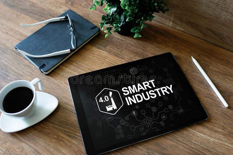 Smart industry 4.0, modern manufacturing, IOT and automation. Smart industry 4.0, modern manufacturing IOT and automation stock photo