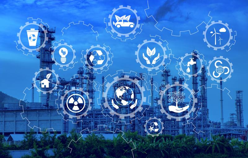 Industry icon pattern on industry background. The smart industry 4.0 at morning time. Industry with blue sky. Energy industry pattern stock images