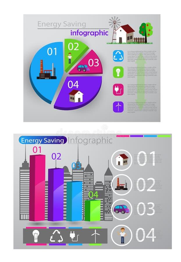 Smart infographic begrepp för energibruk vektor illustrationer