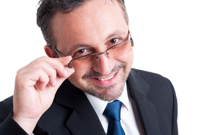Smart, insegnante amichevole ed intelligente o uomo di affari fotografia stock