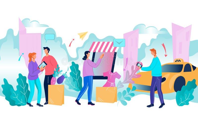 Smart, intelligent stadsmiljö med människor som använder internetteknik för ett bekvämt liv, platt vektor vektor illustrationer