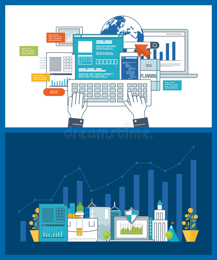 Smart investment, finance, strategic management, financial planning. Investment growth. Concept for smart investment, finance, market data analytics, strategic royalty free illustration