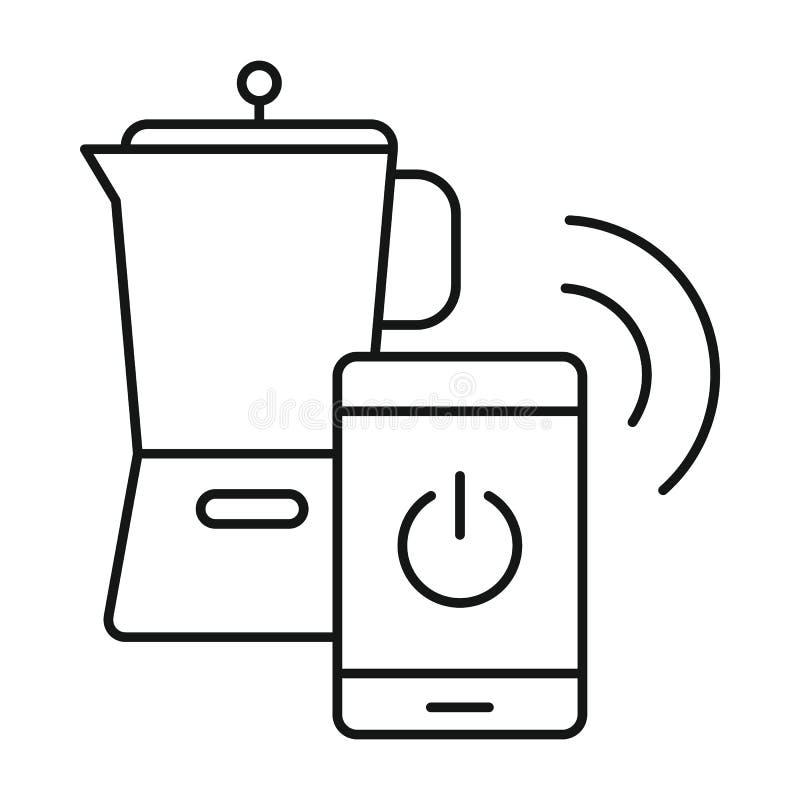Smart kaffetillbringaresymbol, översiktsstil royaltyfri illustrationer