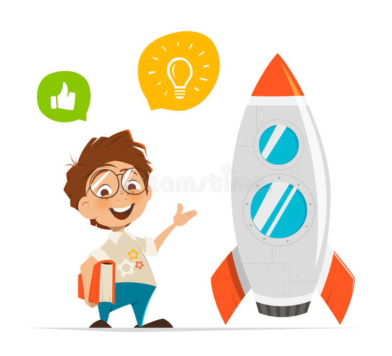 Free Smart Kid Inventor And Rocket Royalty Free Stock Photos - 83689928