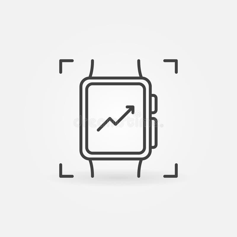 Smart klockaöversiktssymbol Vektorsmartwatchsymbol stock illustrationer